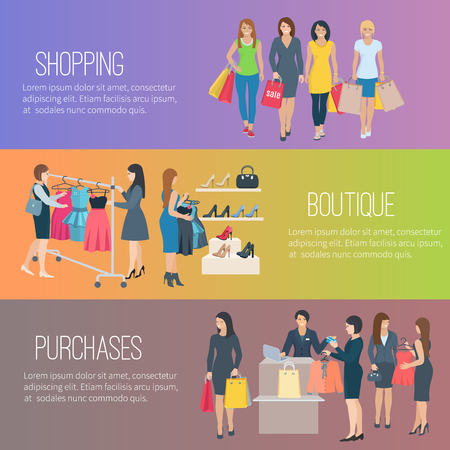 shoes woman: Color flat horizontal banners with text showing woman shopping in boutique vector illustration