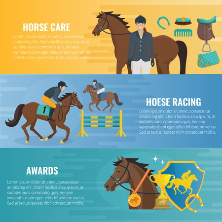 stirrup: Color flat horizontal banners about horse care equestrian racing and awards in competition vector illustration