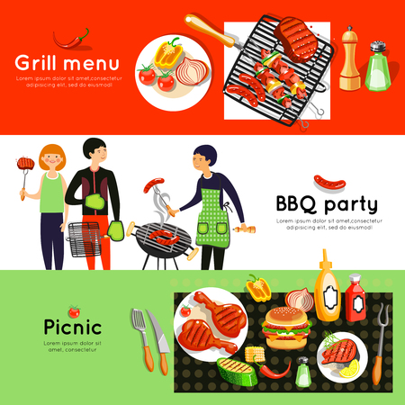 grilled vegetables: Grilled meat and vegetables menu at picnic barbecue party 3 flat horizontal banners set abstract isolated vector illustration Illustration