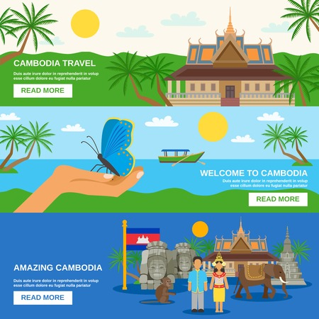Top tourists attraction in cambodia 3 flat horizontal banners set webpage for travelers abstract isolated vector illustration