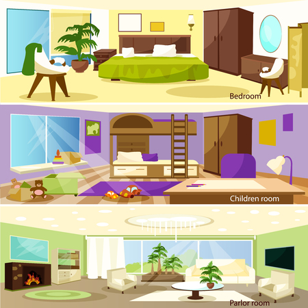 settings: Horizontal colorful cartoon bedroom children and parlor room banners vector illustration