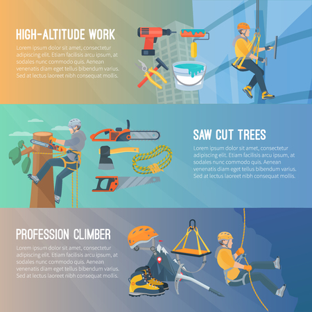 harness: Horizontal flat color banners about high-altitude work saw cut trees profession climber vector illustration