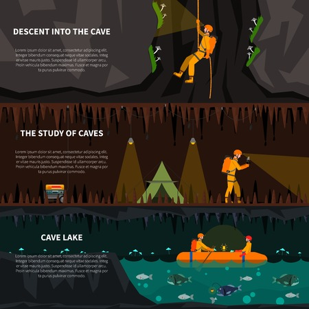 Speleologists descent deep into cave 3 flat banners set with lake and dripstones dark abstract isolated vector illustration