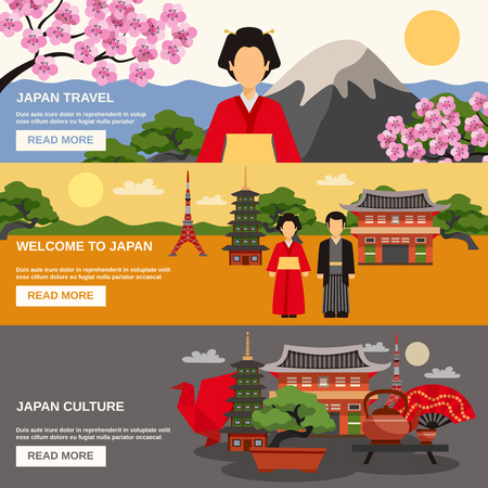 travel japan: Top tourists attraction in Japan 3 flat horizontal banners set webpage for travelers abstract isolated vector illustration