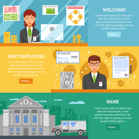 customer service: Bank service horizontal banners with clerks in workplace gold bars money bank building and armored truck flat vector illustration Illustration