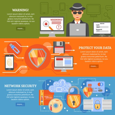 antivirus software: Network security banners set with elements of data protection secure data exchange antivirus software  vector illustration