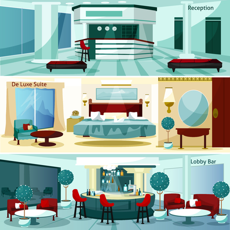 Three modern hotel interior de luxe suite and lobby bar horizontal banners cartoon vector illustration