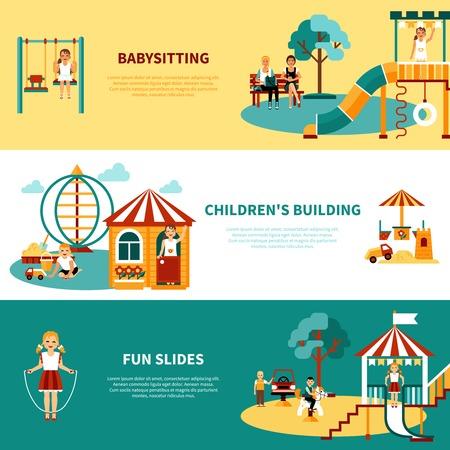 Vlakke horizontale banners met titels en beschrijvingen van speeltoestellen babysitten kinderen gebouw schuift vector illustratie