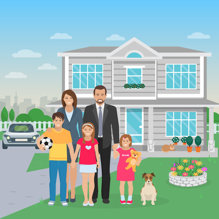 perro familia: Color flat illustration big happy family with dog in the yard vector illustration