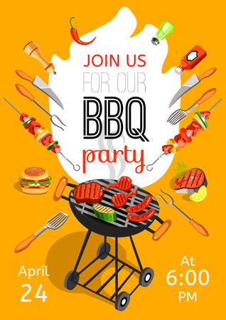BBQ season opening party announcement flat poster with barbecue accessories event date and time abstract vector illustration Reklamní fotografie - 56989456