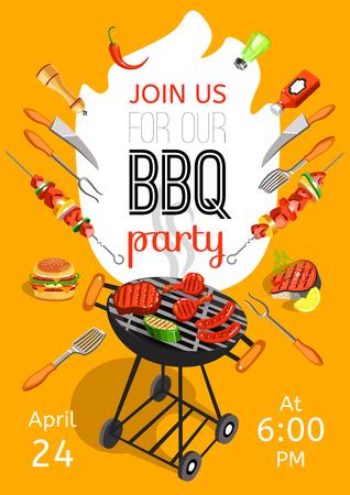 Temporada de churrasco, abrindo o cartaz plana de anúncio de festa com acessórios de churrasco evento data e hora ilustração vetorial abstrato