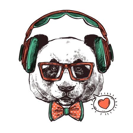 ヘッドフォンと流行に敏感な肖像画パンダ眼鏡ボウタイと心のベクトル図