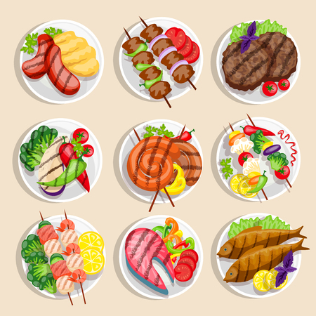 main dishes: Grilled food set fish and meat dishes with vegetables on the plate vector illustration Illustration
