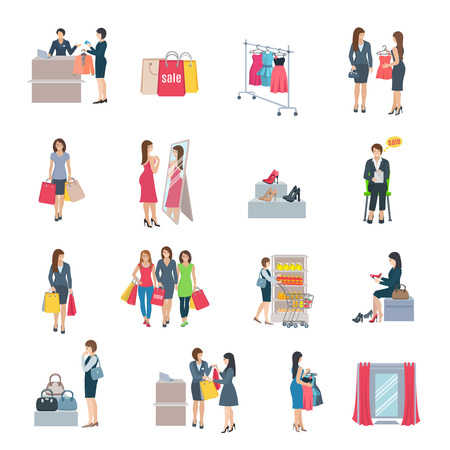 lady shopping: Set of color flat icons depicting woman shopping selection clothes shoes bag in store vector illustration Illustration
