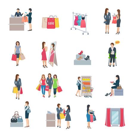 Set van kleur vlakke pictogrammen beeltenis vrouw winkelen selectie kleding schoenen, tas in opslag vector illustratie