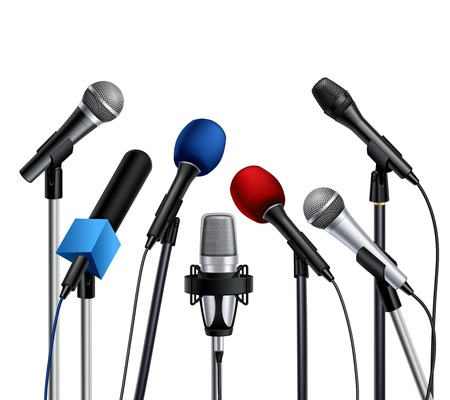 talker: Different muiltcolored press conference microphones prepared for speaker set on white background realistic vector illustration