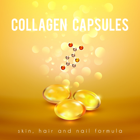 hair mask: Collagen capsules for strong long hair and nails supplement formula advertisement golden background poster abstract vector illustration