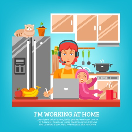 lap: Housewife design concept at kitchen interior with woman sitting at desk with computer and baby in lap flat vector illustration