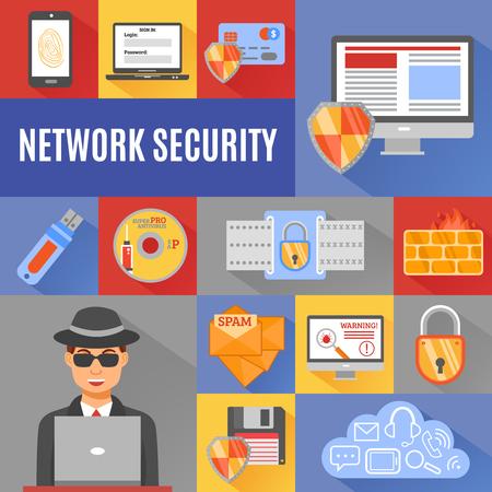 vulnerability: Network security decorative icons set of smartphone credit card laptop cloud padlock hacker symbols isolated vector illustration Illustration