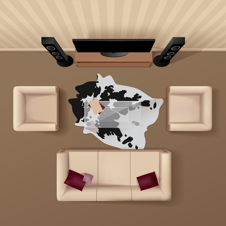 views: Living room with cowhide rug under the glass table coach and armchairs top view realistic vector illustration