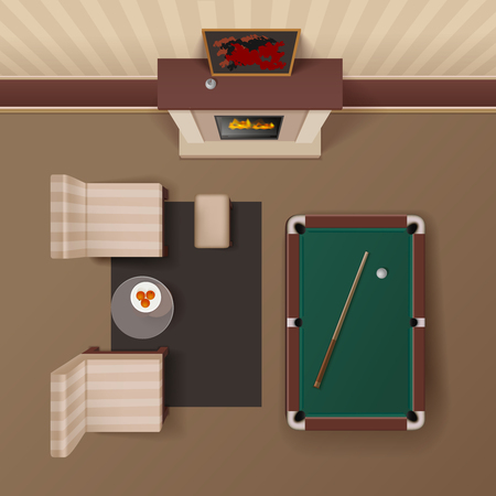 Hotel guestroom lounge with fireplace armchairs and billiard table design realistic top view image vector illustration Illustration