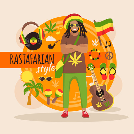 Male rastafarian character pack with stylish accessory and objects vector illustration