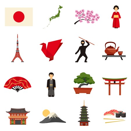 Japanese culture flat icons collection with sakura cherry blossom red lantern and bonsai abstract isolated vector illustration 向量圖像