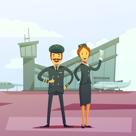 flight crew: Pilot and stewardess cartoon background with airport building and airplane vector illustration Illustration