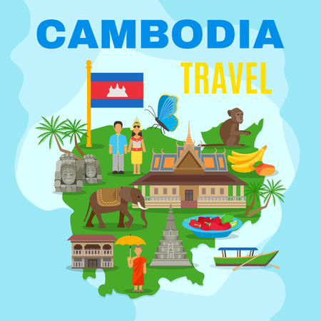 Cambodian culture and national symbols with country map and flag for travelers flat poster abstract vector illustration