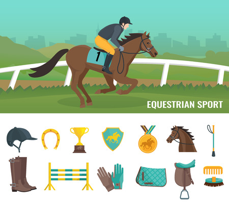 competition: Set of color flat icons showing equipment jockey and equestrian sport vector illustration