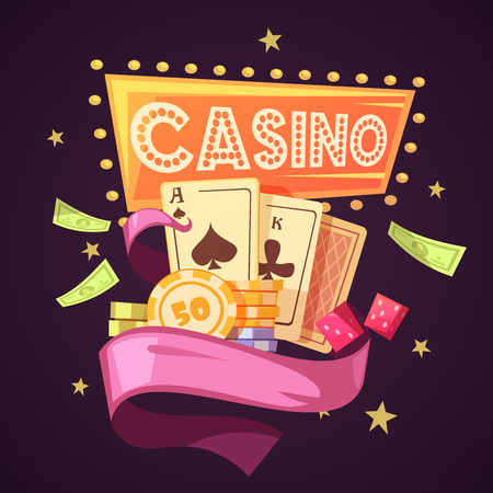 money background: Sparkling casino with cards chips money dice and pink ribbon on purple background flat retro cartoon vector illustration