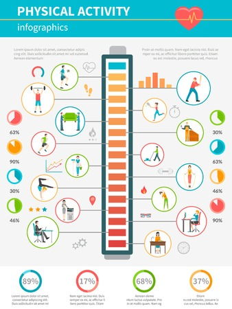 physical activity: Concept infographic showing by icons levels of energy expended and physical activity during various activities vector illustration