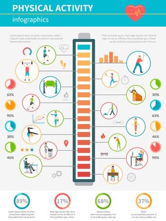 actividad fisica: Concepto que muestra infografía por los niveles de iconos de la energía consumida y la actividad física durante las actividades Vaus ilustración vectorial Vectores