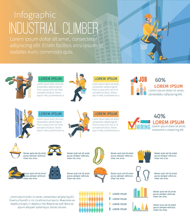 alpinism: Infographic about industrial climber profession alpinism and equipment for high-altitude work vector illustration