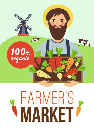 advertisements: Farmers market advertisement flat poster with organic grown vegetables and meat with countryside background abstract vector illustration