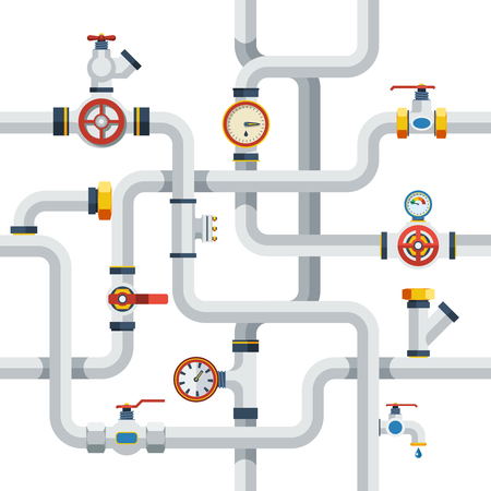 Pipes System Concept. Pipes Vector Illustration.Pipes Flat Symbols. Pipes Design Set. Pipes System Decorative Elements. Vectores