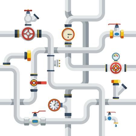 Rura koncepcji systemu. Rury Vector Illustration.Pipes płaskie symbole. Zestaw Projektów Rur. Rury System Elementy dekoracyjne.