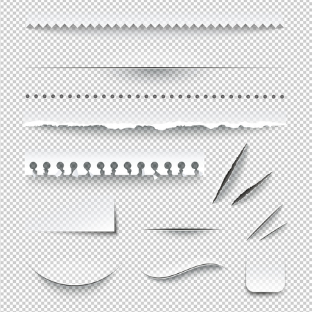 Semitransparent white paper checkered perforated ripped torn jagged cut edges texture samples set realistic shadows vector illustration Stock Illustratie