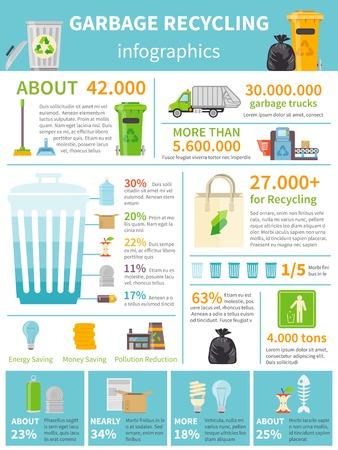 Recycling Infografik Set. Recycling Wohnung Infografik. Recycling Vektor-Illustration. Müll-Recycling-Symbole. Recycling Presentation Design. Standard-Bild - 56989648
