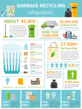 Recycling Infographic Set. Recycling Flat Infographics. Recycling Vector Illustration. Garbage Recycling Symbols. Recycling Presentation Design.
