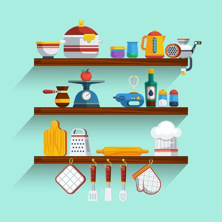 utensil: Kitchen Shelves Set. Kitchen Shelves Vector Illustration. Cooking Flat Symbols. Kitchen Shelves Design Set. Cooking Elements Collection.