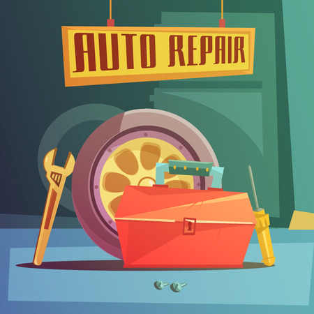 part time: Auto repair cartoon background with spare parts and tools vector illustration