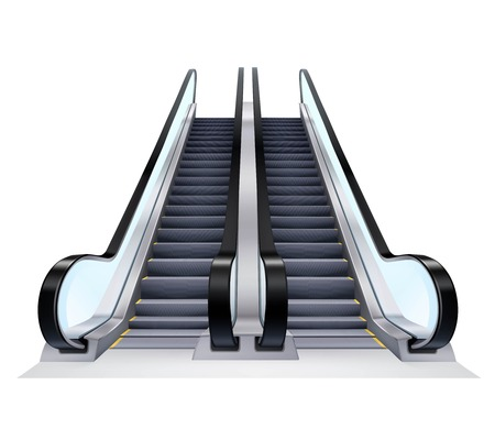step ladder: Two up and down escalators set on white background realistic isolated vector illustration