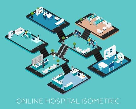 hospitales: hospitalarios en línea isométrica iconos esquema conceptual con habitaciones abstractos y cosas colocadas en smartphone ilustración vectorial bases Vectores