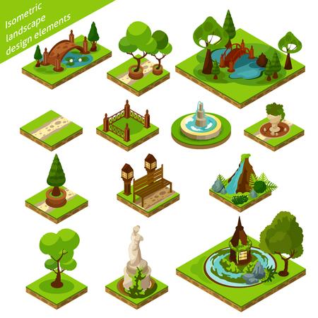 elementi verdi marrone e blu isometriche 3d panorama di progettazione per bellissimo giardino isolato illustrazione vettoriale