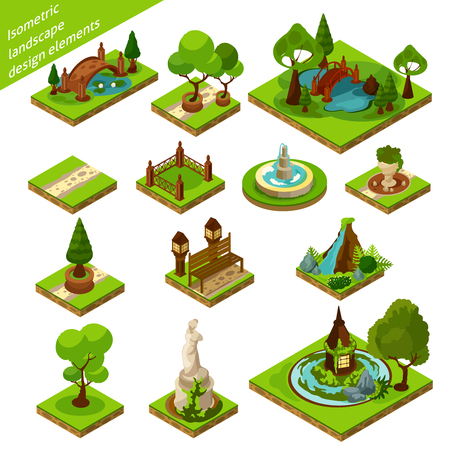 Green brown and blue isometric 3d landscape design elements for beautiful garden isolated vector illustration Illustration