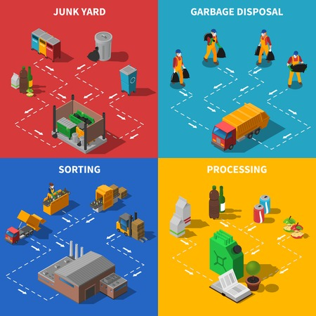 sorting: Recycling Isometric Concept. Garbage Icons Set. Waste Recycling Vector Illustration. Garbage Recycling Symbols. Waste Sorting Design Set. Recycling Elements Collection. Illustration