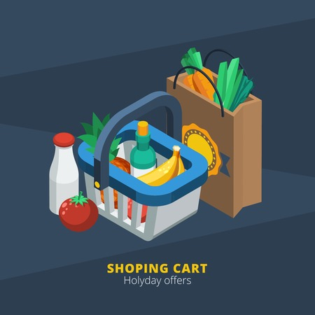 basket icon: Isometric supermarket icon with shopping basket paper pack and food  vector illustration