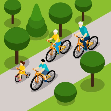 retired: Grandparents with two children cycling in park isometric banner on  retired people active lifestyle abstract vector illustration