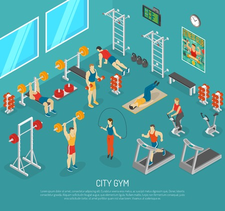 fitness center: City fitness workout gym center with equipment for strength and cardio exercises isomeric poster abstract vector illustration